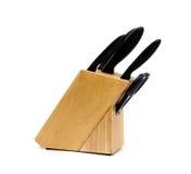 Insieme dei coltelli isolati Fotografie Stock