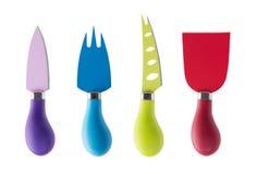 Insieme dei coltelli multicolori del formaggio Fotografia Stock Libera da Diritti