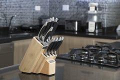 Insieme dei coltelli per la cucina Fotografie Stock