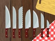 Insieme dei coltelli sulla tavola, illustrazione di vettore Fotografie Stock