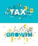 Insieme dei concetti moderni dell'illustrazione di vettore della tassa e della crescita di parole