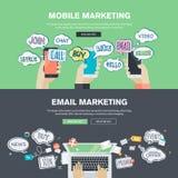 Insieme dei concetti piani dell'illustrazione di progettazione per l'introduzione sul mercato del email e del cellulare