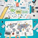 Insieme dei concetti piani dell'illustrazione di progettazione per la rete sociale royalty illustrazione gratis