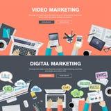 Insieme dei concetti piani dell'illustrazione di progettazione per la video ed introduzione sul mercato digitale illustrazione di stock