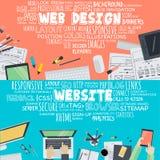 Insieme dei concetti piani dell'illustrazione di progettazione per web design e sviluppo royalty illustrazione gratis