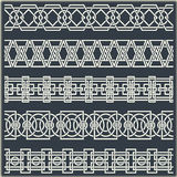 Insieme dei confini d'annata senza cuciture sotto forma di ornamento celtico Fotografia Stock