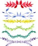 Insieme dei confini multicolori dell'acquerello Immagine Stock Libera da Diritti