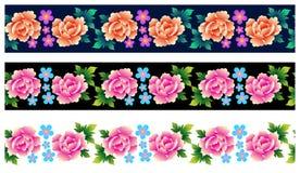 Insieme dei confini senza cuciture con le rose Fotografie Stock Libere da Diritti