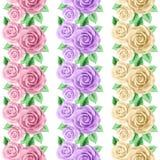 Insieme dei confini senza cuciture con le rose Immagini Stock Libere da Diritti
