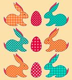 Insieme dei conigli di Pasqua di applicazione Fotografia Stock Libera da Diritti