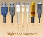 Insieme dei connettori digitali Immagine Stock Libera da Diritti