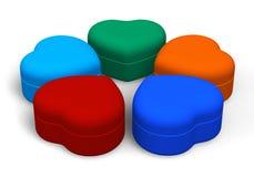 Insieme dei contenitori di monili di colore Immagine Stock Libera da Diritti