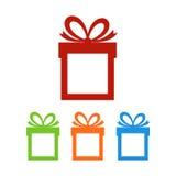 Insieme dei contenitori di regalo con il posto per testo illustrazione di stock