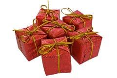 Insieme dei contenitori di regalo di natale isolati su bianco Fotografie Stock