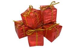 Insieme dei contenitori di regalo di natale isolati su bianco Fotografia Stock Libera da Diritti