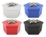 Insieme dei contenitori di regalo isolati su fondo bianco rappresentazione 3d Immagini Stock