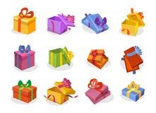 Insieme dei contenitori di regalo nello stile del fumetto Raccolta aperta e chiusa dei contenitori di regalo di vettore Arancio,  royalty illustrazione gratis
