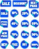 Insieme dei contrassegni blu di prezzi di sconto Fotografia Stock Libera da Diritti