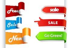 Insieme dei contrassegni colorati di vendita su documento. Fotografie Stock