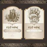 Insieme dei contrassegni del vino Fotografie Stock Libere da Diritti