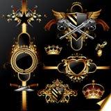 Insieme dei contrassegni dorati ornamentali Fotografia Stock Libera da Diritti