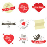 Insieme dei contrassegni e dei distintivi di giorno di biglietti di S. Valentino Immagine Stock
