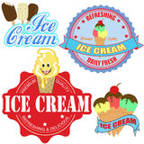 Insieme dei contrassegni e delle icone del gelato Immagini Stock Libere da Diritti