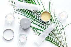 Insieme dei cosmetici decorativi sulla vista superiore del fondo bianco della tavola Fotografia Stock Libera da Diritti