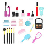 Insieme dei cosmetici decorativi, in uno stile piano, colori luminosi Immagine Stock