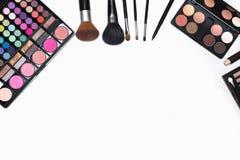 Insieme dei cosmetici di trucco con lo spazio della copia per testo Fotografia Stock Libera da Diritti