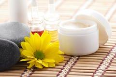 Insieme dei cosmetici e degli accessori della stazione termale Fotografia Stock