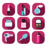 Insieme dei cosmetici e delle icone decorativi di bellezza Fotografia Stock Libera da Diritti