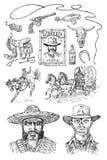 Insieme dei cowboy E E Ritratto della a royalty illustrazione gratis