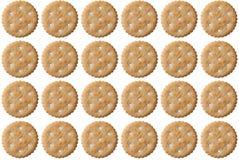 Insieme dei cracker del biscotto isolati su fondo bianco Immagini Stock