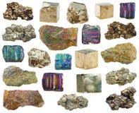 Insieme dei cristalli minerali della varia pirite, pietre Immagini Stock