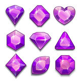 Insieme dei cristalli viola Fotografia Stock