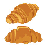 Insieme dei croissant isolati su un fondo bianco Vettore Immagini Stock Libere da Diritti