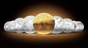 Insieme dei cryptocurrencies con un bitcoin dorato sulla parte anteriore come il capo royalty illustrazione gratis