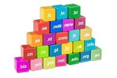 Insieme dei cubi colorati con i Domain Name, rappresentazione 3D Fotografia Stock Libera da Diritti