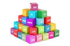 Insieme dei cubi colorati con i Domain Name, rappresentazione 3D Immagine Stock Libera da Diritti