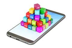 Insieme dei cubi colorati con i Domain Name sullo smartphone, renderi 3D Immagine Stock Libera da Diritti