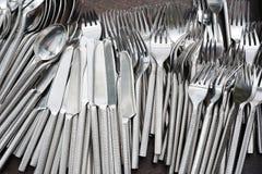 Insieme dei cucchiai e delle forchette dei knifes Fotografie Stock Libere da Diritti