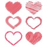 Insieme dei cuori disegnati a mano rossi per la vostra progettazione Vettore illustrazione di stock