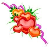 Insieme dei cuori nello stile floreale per il giorno del biglietto di S. Valentino Immagini Stock