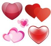 Insieme dei cuori per il giorno di biglietti di S. Valentino Fotografia Stock Libera da Diritti