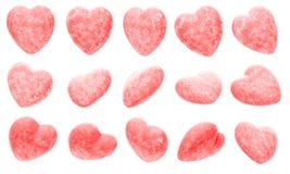 Insieme dei cuori rosa Immagini Stock