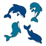 Insieme dei delfini svegli isolati del bambino Disegnato a mano Illustrazione di Stock