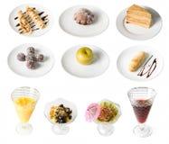 Insieme dei dessert Immagini Stock