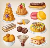 Insieme dei dessert francesi Fotografie Stock Libere da Diritti