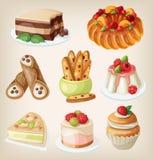 Insieme dei dessert italiani Fotografie Stock